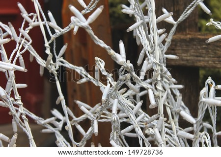 Exterior decoration of the Christmas lights - stock photo