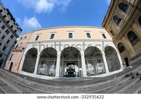 exterior facade of Saint Peter in Vincoli church,  Rome, Italy - stock photo