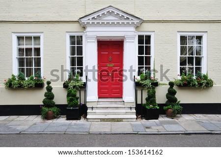Exterior of a Beautiful Georgian Era English Town House - stock photo
