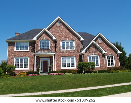 Exterior Large Two Story Brick Residential Stock Photo