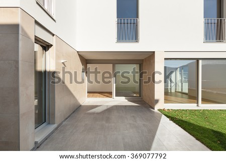 Exterior of a modern building, view from the patio - stock photo