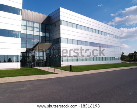 exterior of a modern industrial building - stock photo