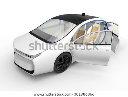 Exterior of autonomous electric car isolated on white background.  Original design.