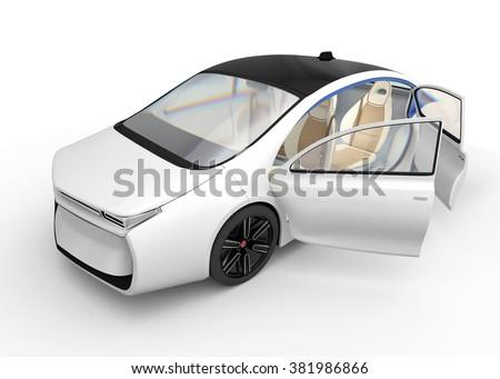 Exterior of autonomous electric car isolated on white background.  Original design. - stock photo
