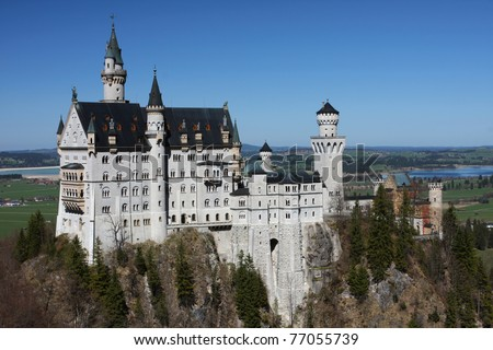 exterior of beautiful medieval palace Neuschwanstein, Bavaria, Germany - stock photo