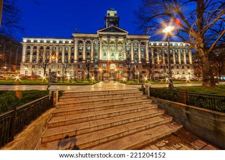 Exterior of classical building at night. Belgrade Serbia - stock photo