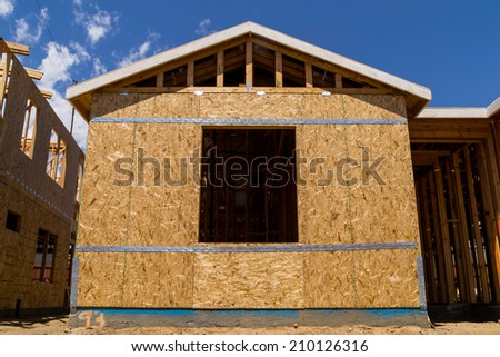 Exterior of home being built - stock photo