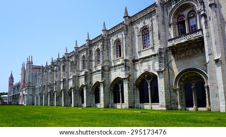 exterior of jeronimos architecture in lisbon Portugal