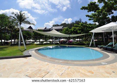 Exterior of luxury hotel, picture taken during the sunny day, Borneo. - stock photo