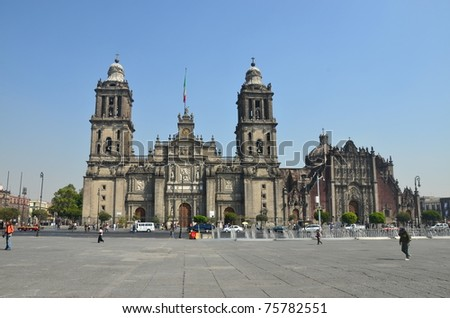Exterior of Mexico City Metropolitan Cathedral - stock photo