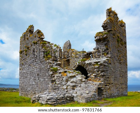 Exterior of O'Brien's Castle on Inisheer Island, Ireland. - stock photo