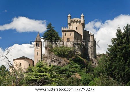 exterior of Saint-Pierre Castle and church in Aosta valley, Italy