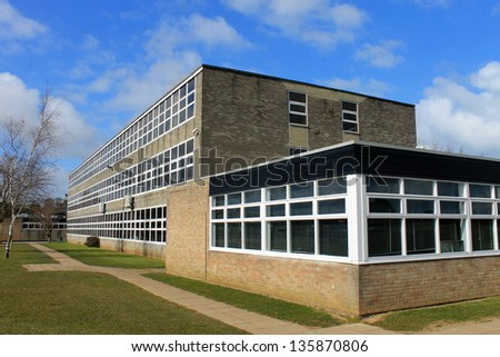 Exterior of secondary school building, Scarborough, England. - stock photo