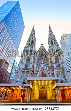 Exterior of St. Patrick's Cathedral in New York, New York. - stock photo