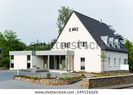 Exterior of suburban house - stock photo