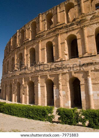 Exterior of  the ancient Roman colosseum in El Jem, Tunisia