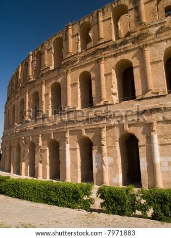Exterior of  the ancient Roman colosseum in El Jem, Tunisia - stock photo
