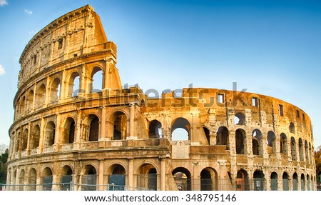 Exterior of the Colosseum, also known as the Flavian Amphitheatre in Rome, Italy - stock photo