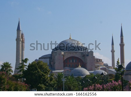 Exterior of the Hagia Sophia in Sultanahmet, Istanbul, on a sunny day