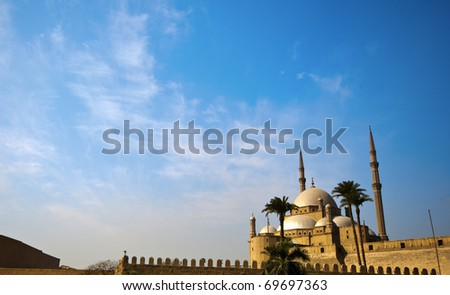 Exterior of the Muhammad Ali mosque in Cairo - stock photo