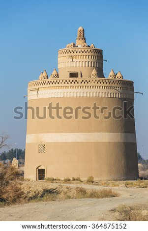 Exterior of the traditional pigeon house in Yazd province, Iran. Birds in Persia were important food source and were kept for their eggs, flesh and dung in specially built pigeon houses.