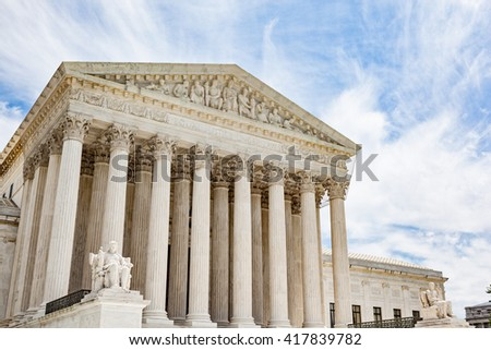 Exterior of the United States Supreme Court building in Washington DC - stock photo