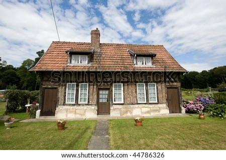 Exterior of typical country house near Rouen (Normandy, France) at summer - stock photo