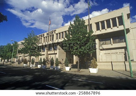 Exterior of United States Mint, Philadelphia, PA - stock photo