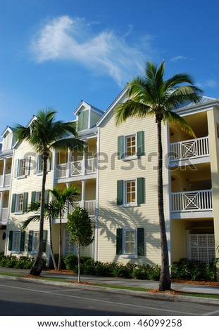 Exterior of wooden houses in Key-West, Florida, USA - stock photo