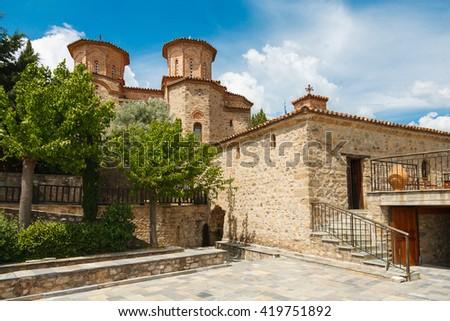 Exterior part  Monk Varlaam church in Meteora, Greece - stock photo