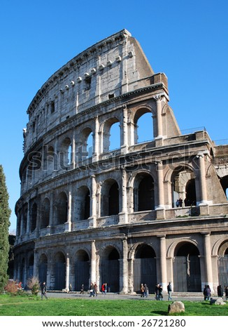 Exterior Profile of the Roman Colosseum, Rome, Italy - stock photo