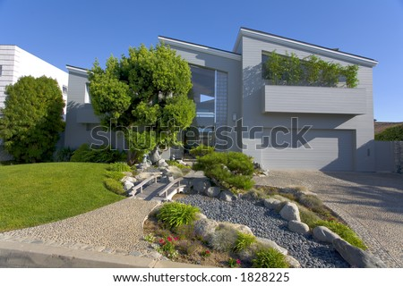 Exterior shot of a custom home in Newport Beach, CA. - stock photo