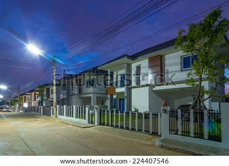 Exterior Townhome or Townhouse at Twilight time - stock photo