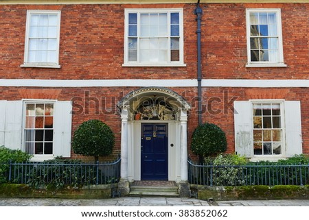 Exterior View of a Beautiful Old English Red Brick Town House