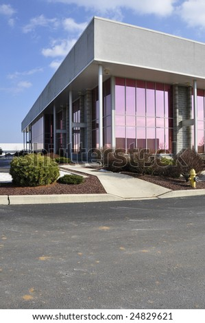 exterior view of a modern industrial building - stock photo