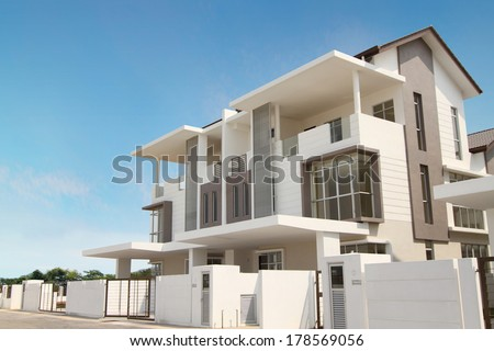 Exterior view of a new duplex house - stock photo