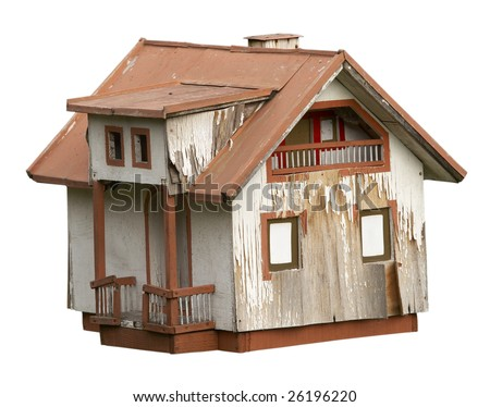 exterior view of an old house on white background with clipping path - stock photo