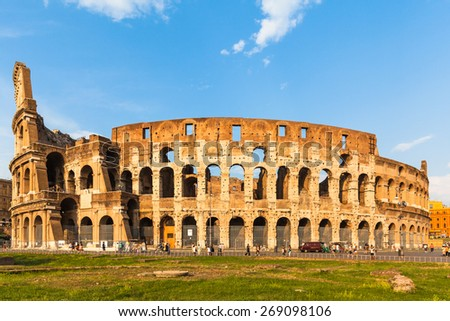 Exterior view of colosseum before sunsetin Rome, Italy - stock photo