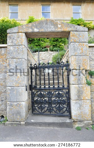 Exterior View of Gateway of an Old London Town House - stock photo
