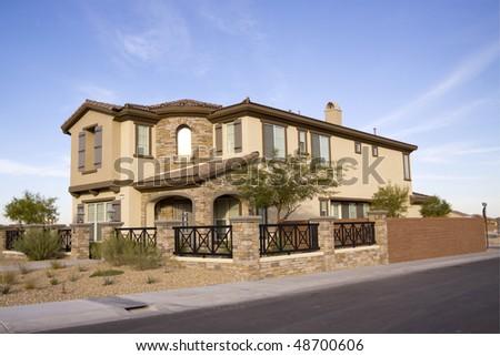 Exterior view of luxury house - stock photo