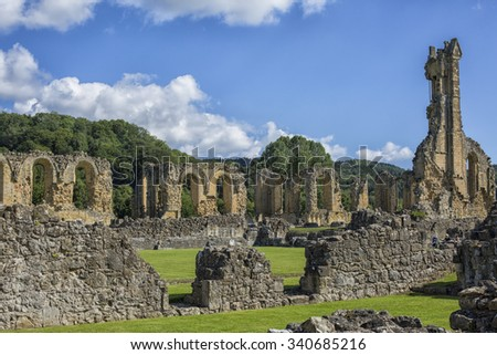 Exterior view of ruins of Byland Cistercian Abbey, Ryedale, North Yorkshire, England