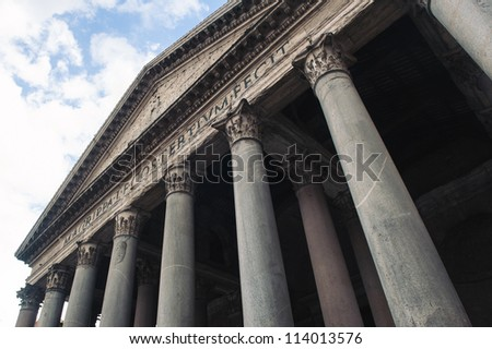 Exterior view of the Pantheon, an ancient Roman temple in Rome, Italy.