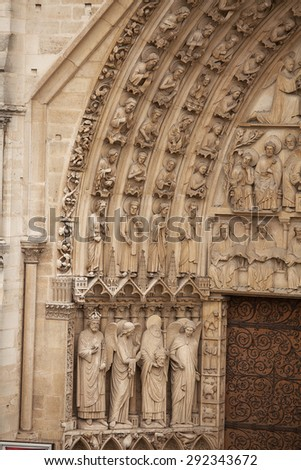 Exterior views of the Notre Dame Cathedral, Paris, France - stock photo