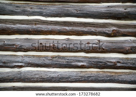Exterior wall of an old log home.  - stock photo