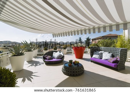 Exteriors Shots Modern Terrace Awnings Contemporary Stock Photo 761631865