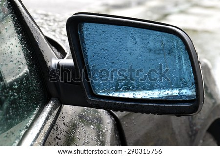 External car mirror in raindrops