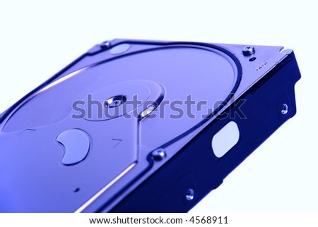 External casing of hard disc drive in blue tone - stock photo