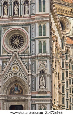 External details of Santa Maria del Fiore cathedral in Florence in Tuscany, Italy - stock photo
