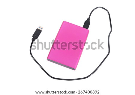 External disk for information storage on white  - stock photo