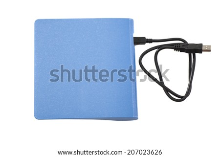 External DVD a drive with disk isolated on  white background  - stock photo